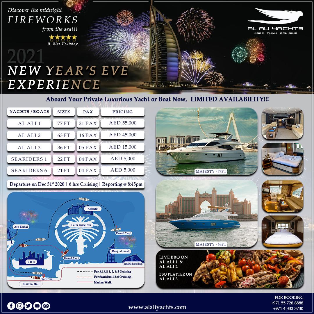 EXPERIENCE YACHT CHARTER NEW YEARS EVE FIREWORKS 2021 DUBAI